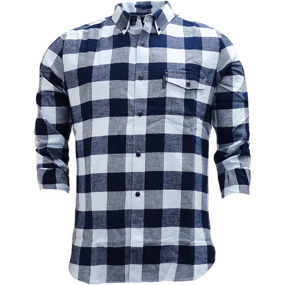 FCUK Long Sleeve Navy Blue Check Flannel Shirt - 52GBZ Thumbnail 1
