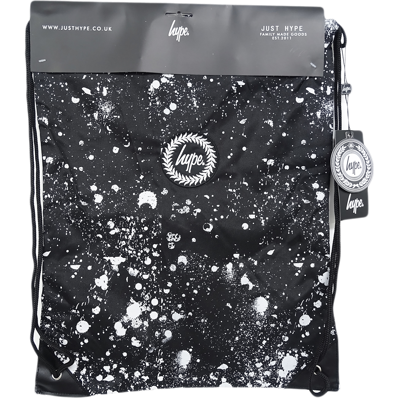 Just Hype Drawstring Bags - Speckle Crest Black