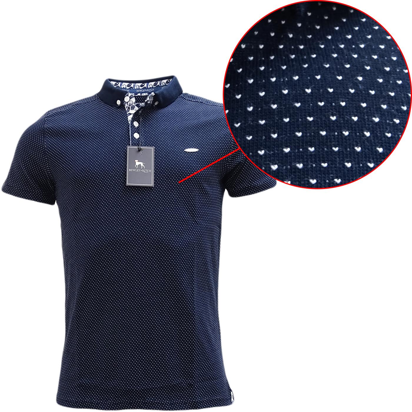 Bewley & Ritch Polka Dot Navy Polo Shirt Geynes