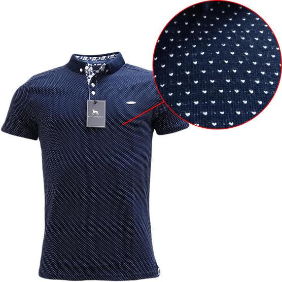 Bewley & Ritch Polka Dot Navy Polo Shirt Geynes Thumbnail 1