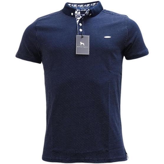 Bewley & Ritch Polka Dot Navy Polo Shirt Geynes Thumbnail 2