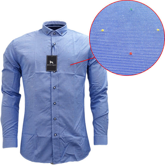 Bewley & Ritch Mens Slim Fit Fleck Shirt Hurst Blue Thumbnail 1