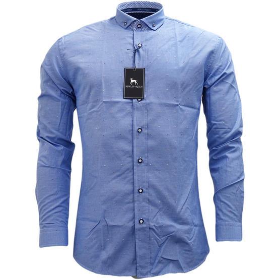 Bewley & Ritch Mens Slim Fit Fleck Shirt Hurst Blue Thumbnail 2