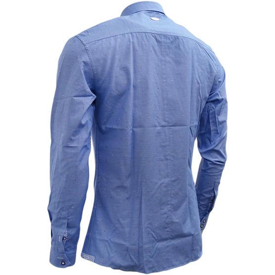 Bewley & Ritch Mens Slim Fit Fleck Shirt Hurst Blue Thumbnail 3