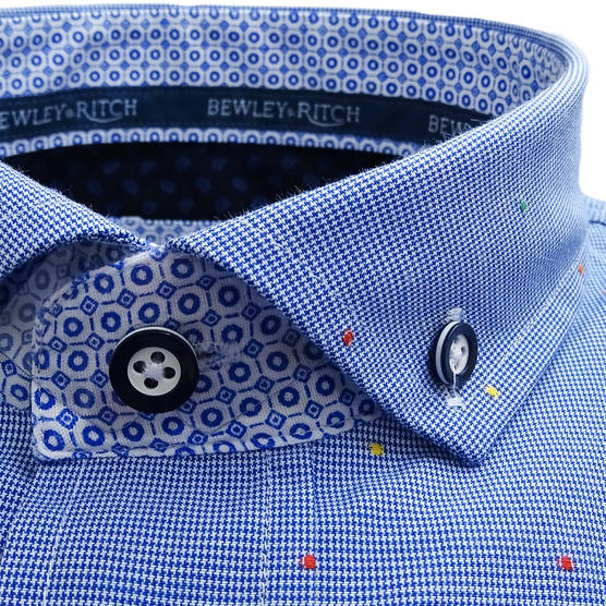 Bewley & Ritch Mens Slim Fit Fleck Shirt Hurst Blue Thumbnail 5