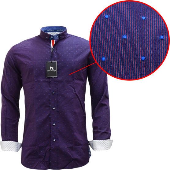 Bewley & Ritch Mens Slim Fit Polka Dot Burgundy Shirt - Leeson Thumbnail 1