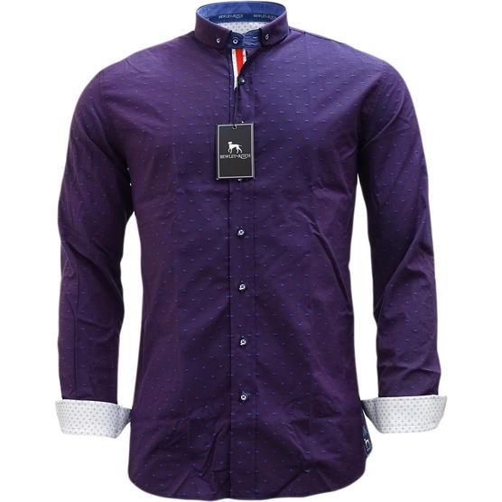 Bewley & Ritch Mens Slim Fit Polka Dot Burgundy Shirt - Leeson Thumbnail 2