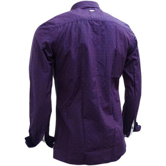 Bewley & Ritch Mens Slim Fit Polka Dot Burgundy Shirt - Leeson Thumbnail 3