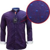 Bewley & Ritch Mens Slim Fit Polka Dot Burgundy Shirt - Leeson