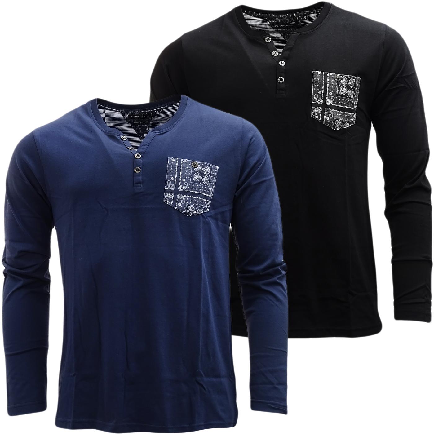 Mens Long Sleeve V Neck Lightweight T Shirt By Brave Soul