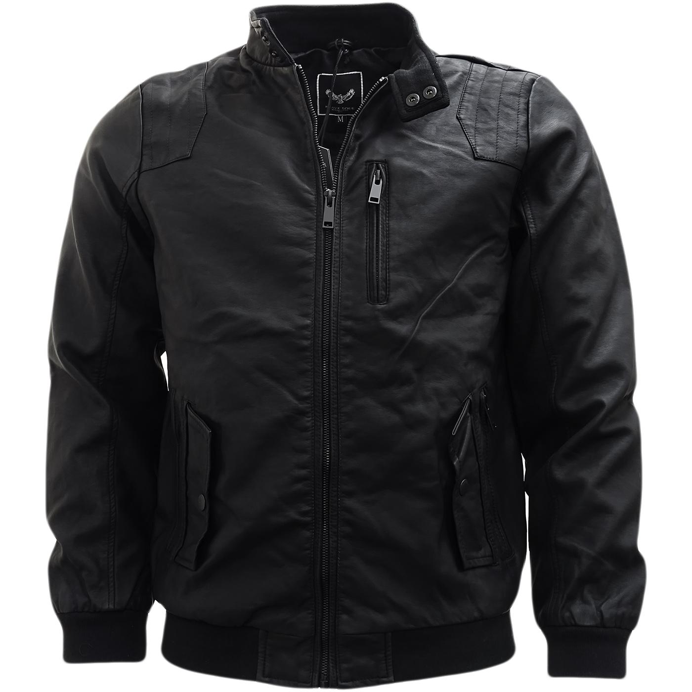 Brave Soul Black Leather Look Jacket / Outerwear Coat