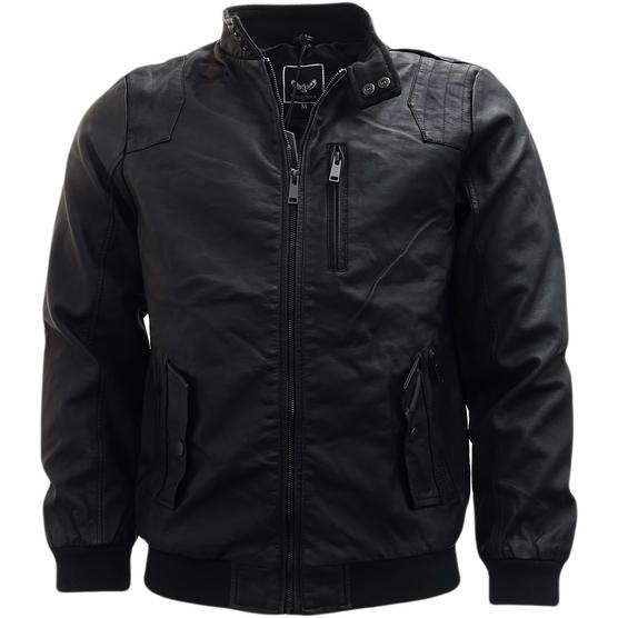 Brave Soul Black Leather Look Jacket / Outerwear Coat Thumbnail 1