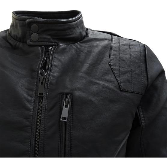 Brave Soul Black Leather Look Jacket / Outerwear Coat Thumbnail 3