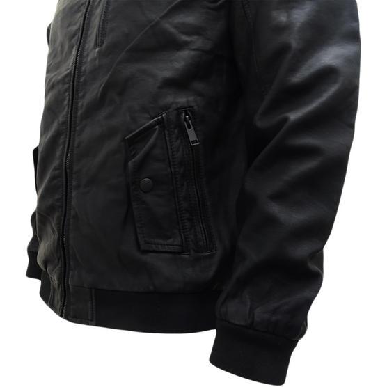 Brave Soul Black Leather Look Jacket / Outerwear Coat Thumbnail 4
