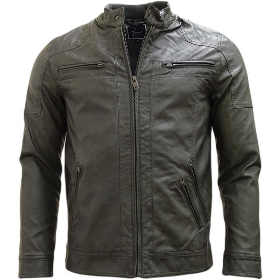 Brave Soul Smoke Grey Leather Look Jacket / Outerwear Coat Thumbnail 1