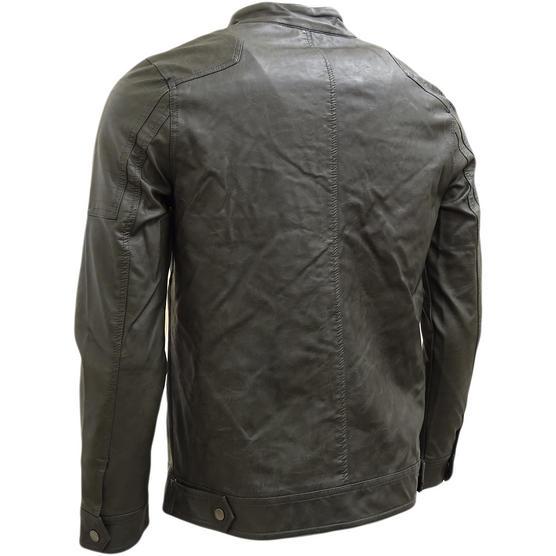 Brave Soul Smoke Grey Leather Look Jacket / Outerwear Coat Thumbnail 2