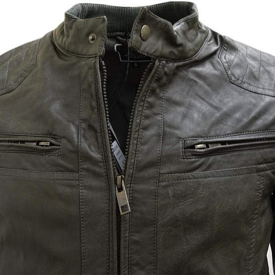 Brave Soul Smoke Grey Leather Look Jacket / Outerwear Coat Thumbnail 3