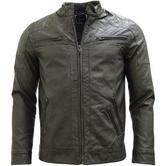 Brave Soul Smoke Grey Leather Look Jacket / Outerwear Coat