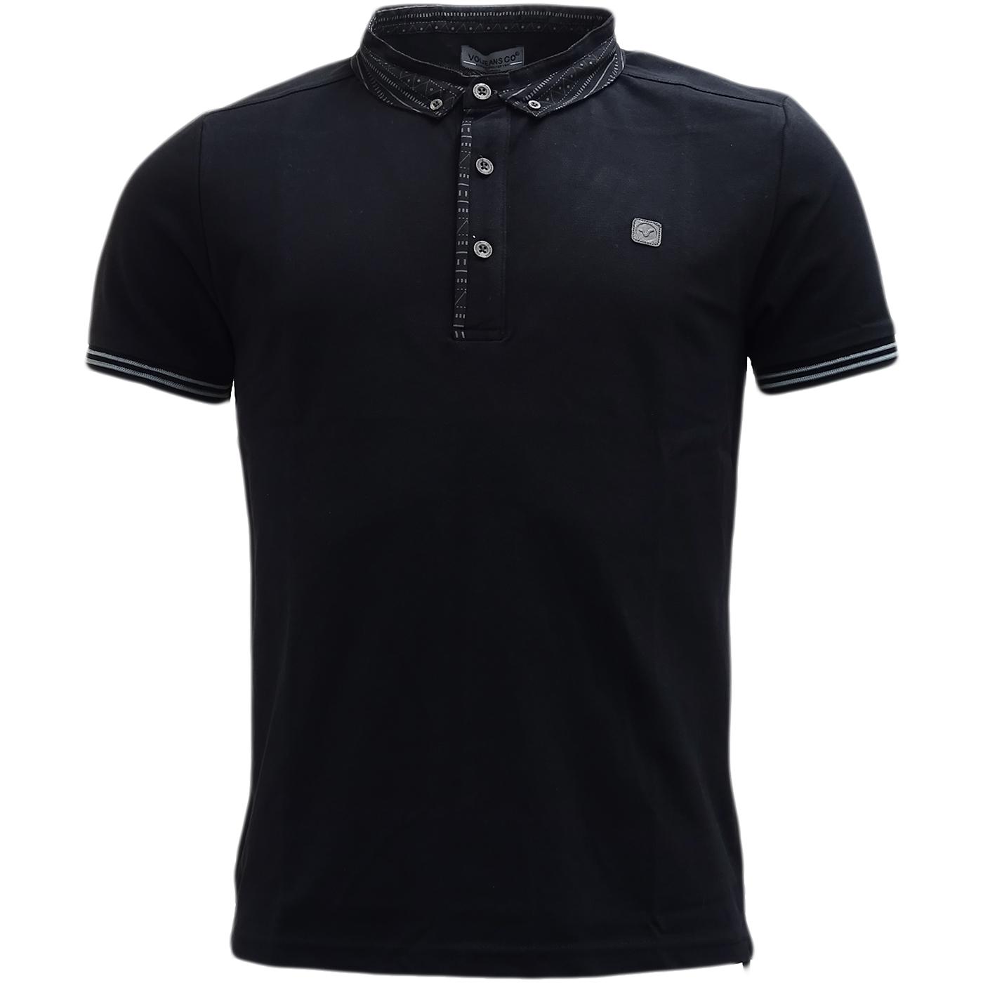 Voi black aztec button down collar polo shirt under 20 for No button polo shirts