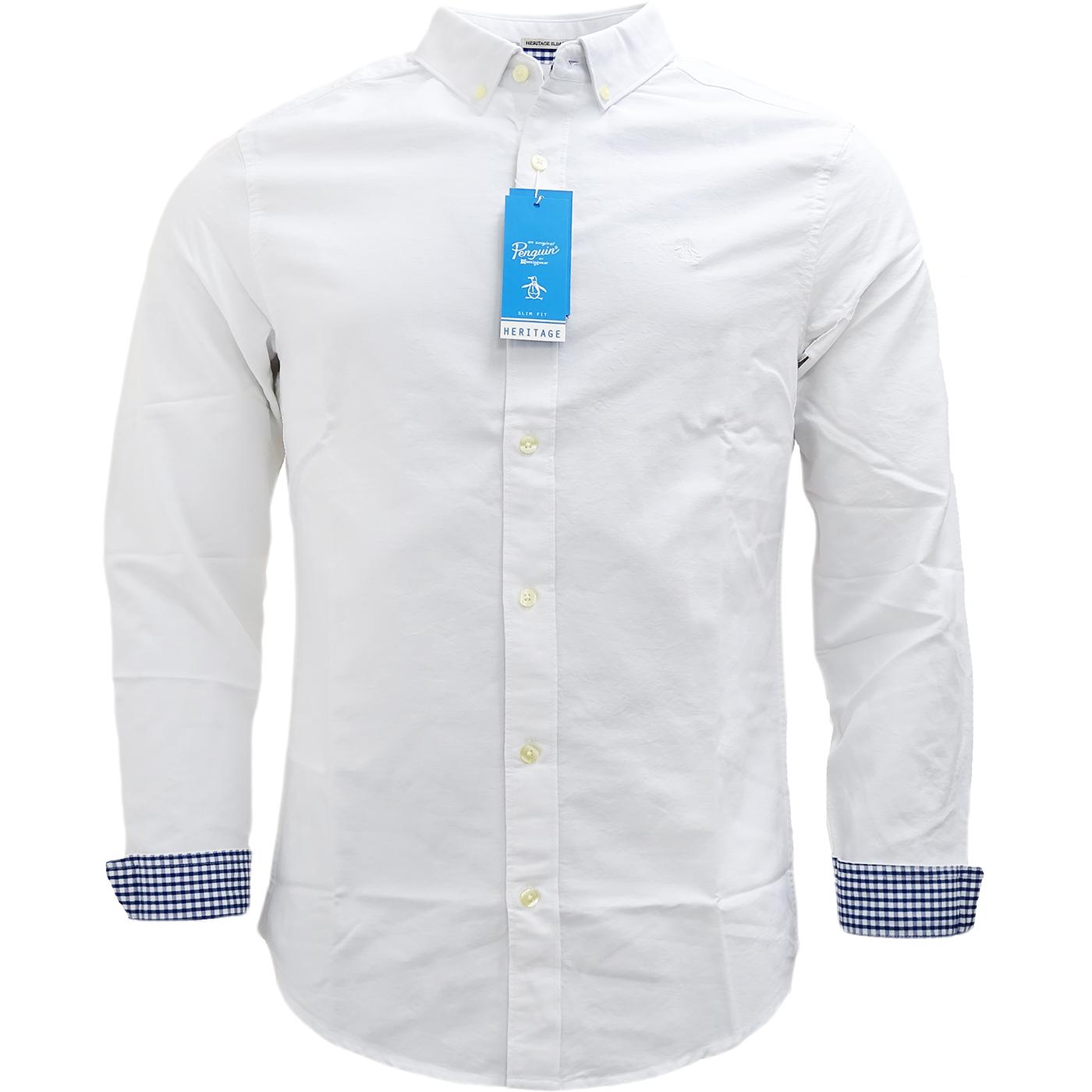 Original penguin white button down plain oxford shirt for White button down oxford shirt
