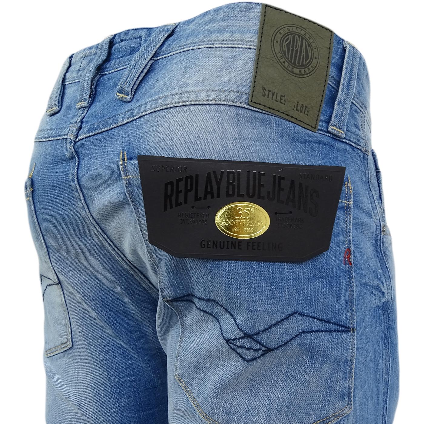 M914-63C-929 Replay Light Blue Anbass Slim Fit Light Blue Jean//Denim Pants