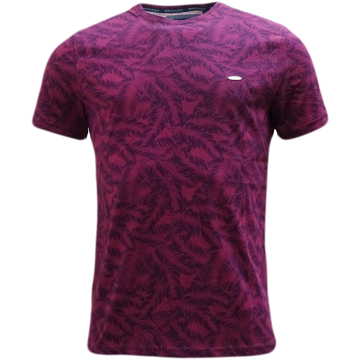 Bewley & Ritch Purple All Over Leaf Design T-Shirt