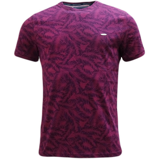 Bewley & Ritch Purple All Over Leaf Design T-Shirt Thumbnail 1
