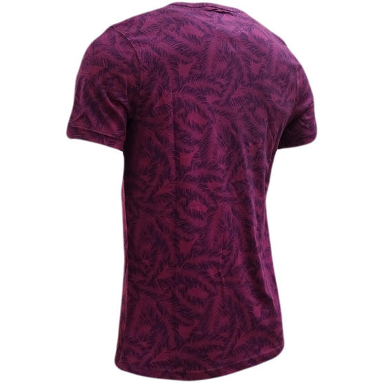 Bewley & Ritch Purple All Over Leaf Design T-Shirt Thumbnail 2