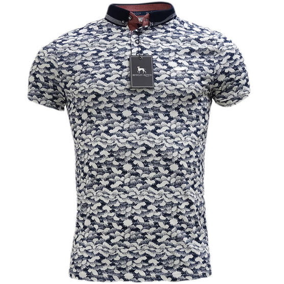Bewley & Ritch White Slim Fit Clouds Pattern Polo Shirt Thumbnail 1