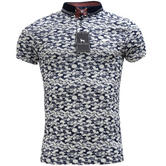 Bewley & Ritch White Slim Fit Clouds Pattern Polo Shirt