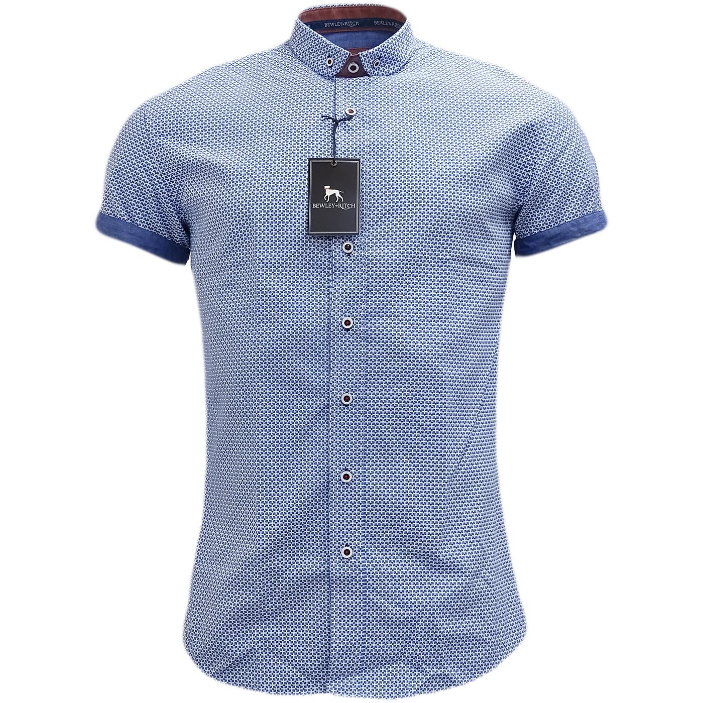 Bewley & Ritch Blue Slim Fit Button Down Mod / Retro Square Shirt