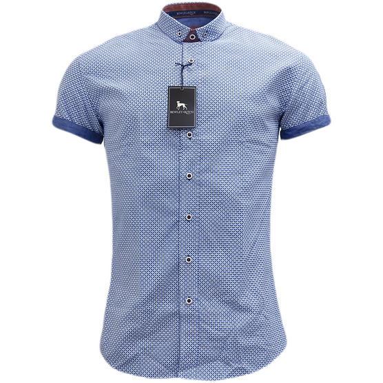 Bewley & Ritch Blue Slim Fit Button Down Mod / Retro Square Shirt Thumbnail 1