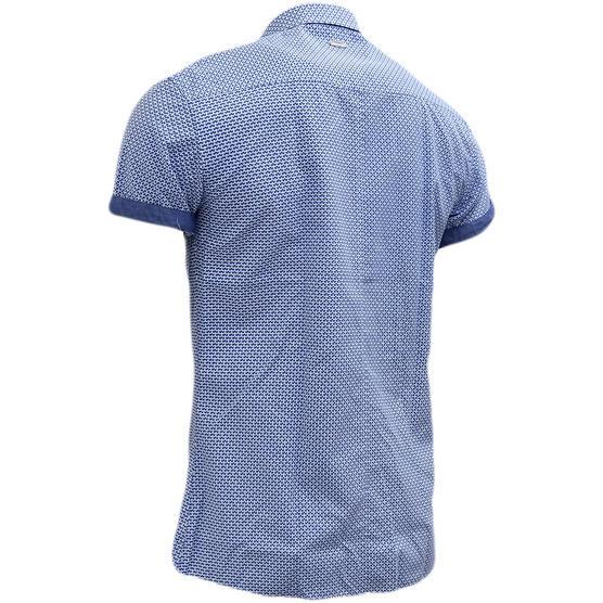 Bewley & Ritch Blue Slim Fit Button Down Mod / Retro Square Shirt Thumbnail 2