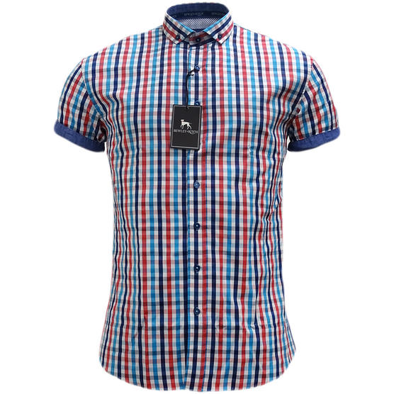 Bewley & Ritch White Slim Fit Button Down Check Shirt Thumbnail 1