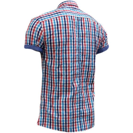 Bewley & Ritch White Slim Fit Button Down Check Shirt Thumbnail 2