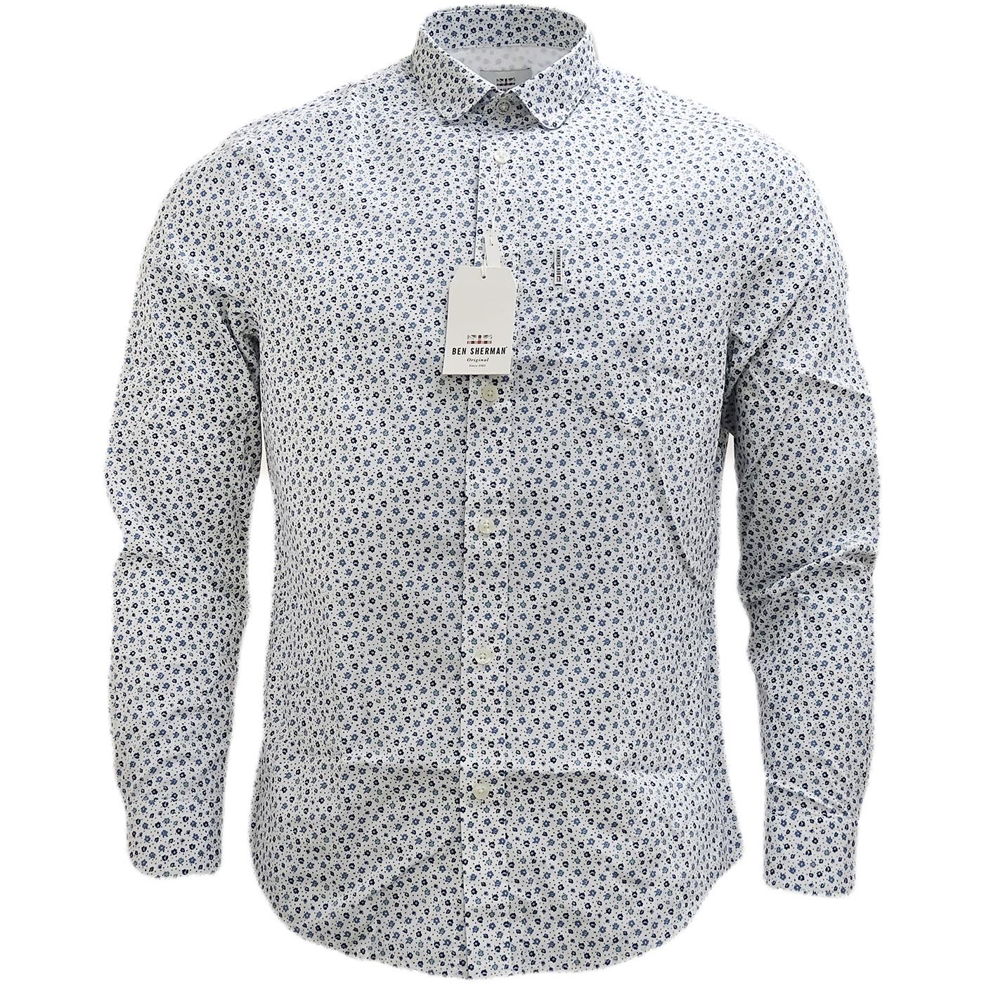 Ben Sherman White Retro Floral Shirt White