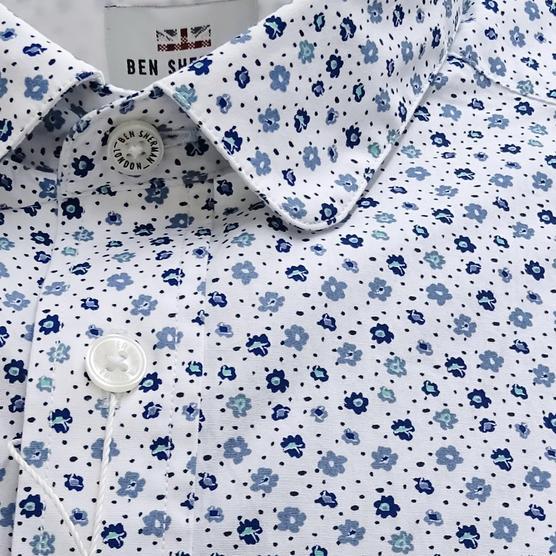 Ben Sherman White Retro Floral Shirt White Thumbnail 3