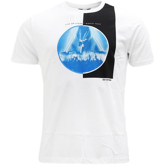 Ben Sherman White Live On Stage' Logo T-Shirt Thumbnail 1