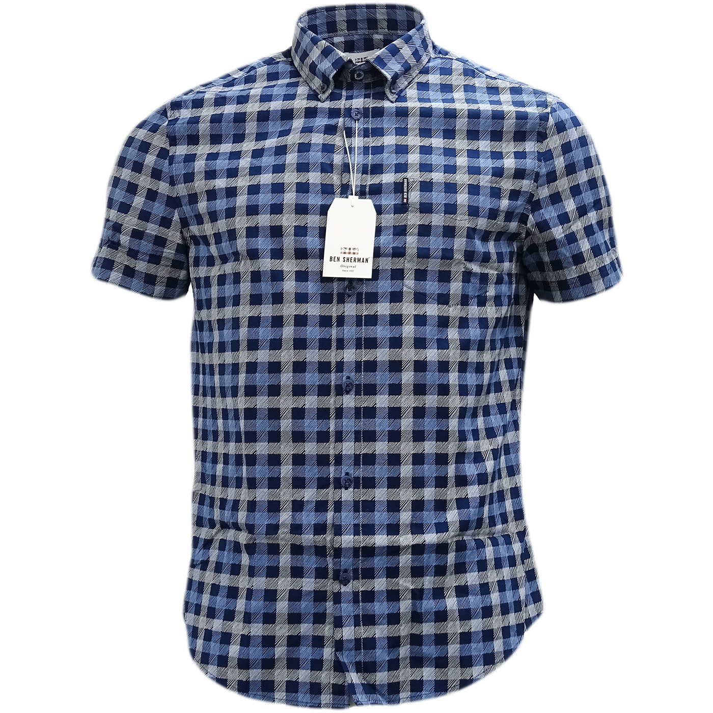 Ben Sherman Navy Button Down Checked Shirt