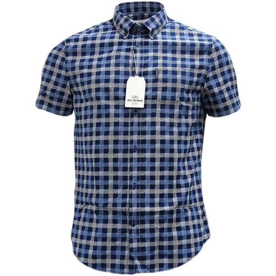 Ben Sherman Navy Button Down Checked Shirt Thumbnail 1
