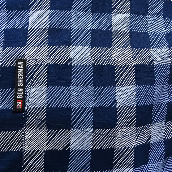 Ben Sherman Navy Button Down Checked Shirt Thumbnail 3