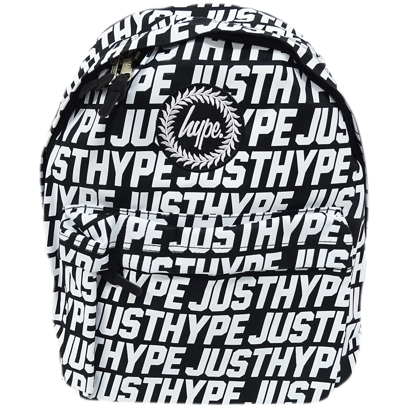Hype Black Backpack With All Over White Hype Logo Bag - Sporting Just Hype