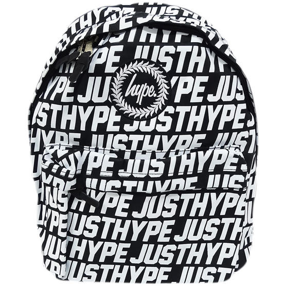 Hype Black Backpack With All Over White Hype Logo Bag - Sporting Just Hype Thumbnail 1