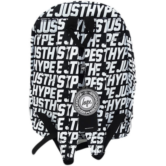 Hype Black Backpack With All Over White Hype Logo Bag - Sporting Just Hype Thumbnail 2