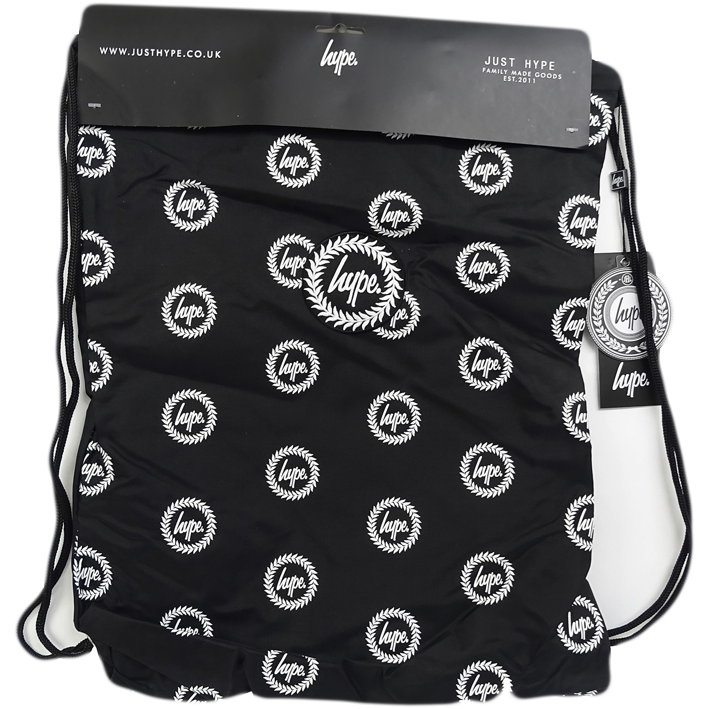 Hype Black Drawstring Bag Will All Over Hype Crest Logo  - Drawstring Repeat Crest