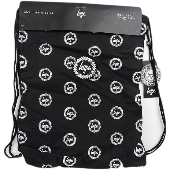 Hype Black Drawstring Bag Will All Over Hype Crest Logo  - Drawstring Repeat Crest Thumbnail 1