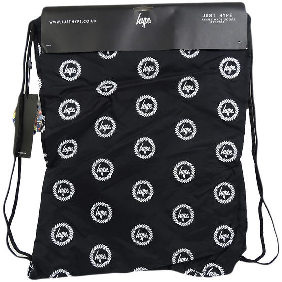 Hype Black Drawstring Bag Will All Over Hype Crest Logo  - Drawstring Repeat Crest Thumbnail 2