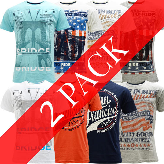 Cargo Pack Of 2 T Shirts / Union Jack / Designer Top - 2 Pack Thumbnail 1