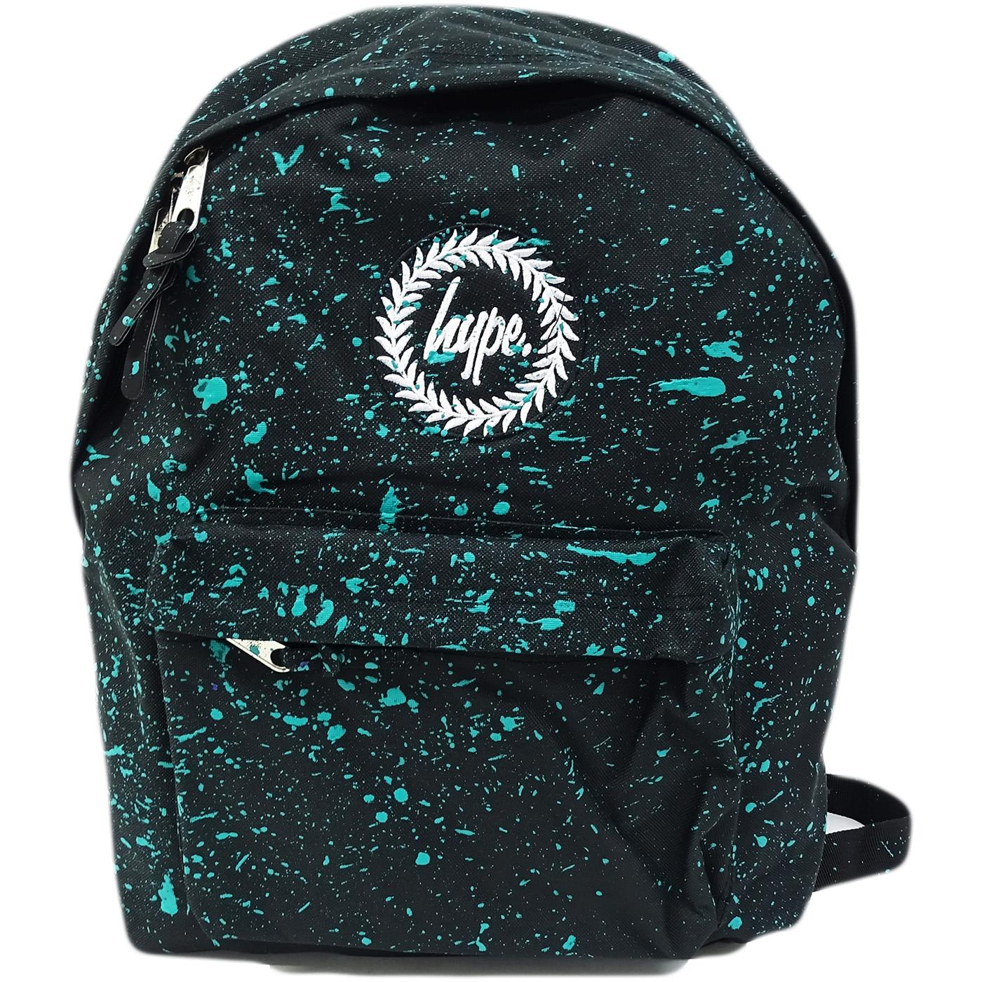 Hype Black with Mint Bag - Boys / Girls Backpack, Rucksack - Splatter