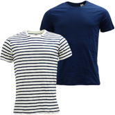Levi Strauss 2 Pack Plain Navy And White Stripe T-Shirt 2 Pack 82176-0025 -